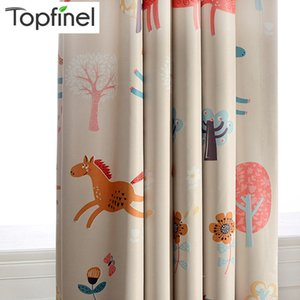 Topfinel Cartoon Blackout Curtain For Living Room Bedroom Kids Room For Children Cute Horse Pattern Decoration Window Treatment LJ201224