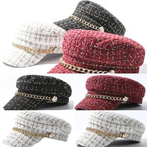 oSloF Yün Keçe Şapka Şapka Lady Kız Katı Hardal Mor Kış Bere Yün Klasik Slouch Ressam Stil Kırmızı Bayan Baker Boy