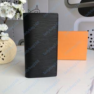 New Fashion High Quality Mens portafogli da uomo classico portafoglio a strisce con texture portafogli multiple Bifold piccoli portafogli con scatola 19CMX10cm