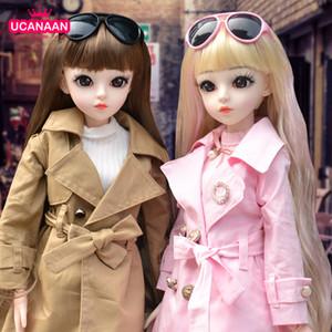 Ucanaan bjd boneca 60 cm 1/3 moda meninas sd bonecas 18 bola articulada boneca com roupas roupas set sapatos wig maquiagem crianças brinquedos 201021