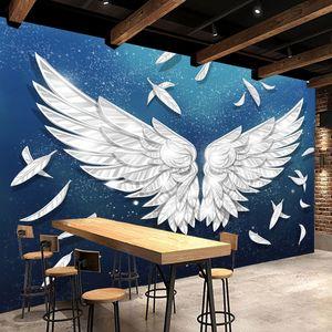 Custom 3D Mural Wallpaper Angel Wings Blue Starry Sky Feather Art Wall Painting Living Room Restaurant Bar KTV Photo Paper