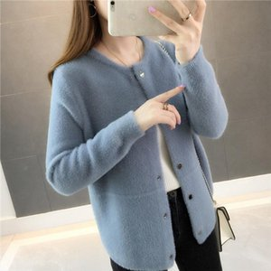 Mink fur autumn and winter sweater coat 2020 new womens loose velvet long sleeved cardigan Drop Shipping