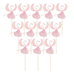 12PCS Ballet Flamingo Cupcake Toppers Inserts Paper Cake Decoration Party Supplies (Pink)1