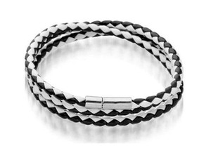 Mens Leather Bangle Bracelets Black brown Mesh Magnetic Stainless Steel Clasp Double Wrap Wristband Beautiful Ti jllxaF ffshop2001