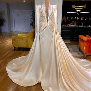 Elegant Satin Formal Evening Dresses Long Sleeves 2021 Dubai Arabic Prom Gowns With Detachable Skirt V Neck Sequined Formal Dress AL7362