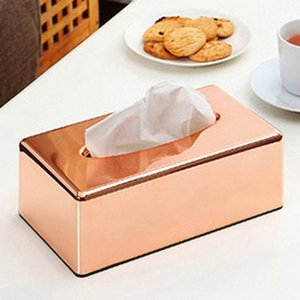 Rose Gold Tissue Box Metallabdeckung Papier Toiletten Box yohK #
