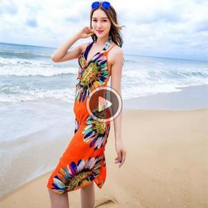 2LXO floral de las mujeres bikini Ups er impresión atractiva de Pareo del vestido de la playa de Bohemia Pareo playa de la gasa del bikini del traje de baño del abrigo de la bufanda Shl sujetador 6color
