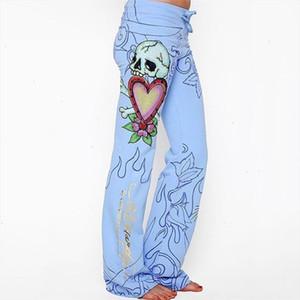 New 2020 Brand Fashion Casual Women Long Pants Baggy Skull Rose Printed Hippie Wide Leg Boho Pants Elegant Ladies