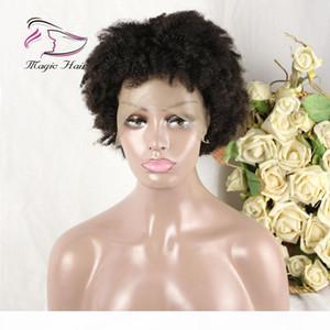 Spitzefront Menschliche Haarperücken für schwarze Frauen Afro Kinky Curly Brazilian Remy Haarfarbe 1b # Kurze Bob Perücken
