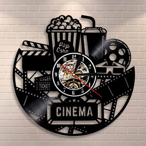 Cinema Production Clock Cinema Segno del popcorn Vinyl Wall Clock Record Guardando la decorazione della parete della pellicola Vintage Film Lovers regalo Clock