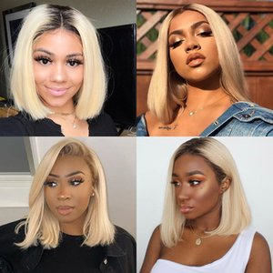 Blond Brazilian Straight Human Hair Bob Wig Remy Short Ombre Bob Lace Frontal Wig, Suitable For Black Women