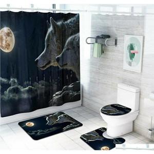 4 шт. / Комплект ванной комнаты из полиэстера занавес для душевой душевые не скольжения туалетные крышки коврики MAT набор CTFPB
