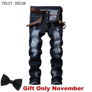 Klassische Männer Jeans Distressed Slim Stonewash verkratzt Casual Denim Hosen Streetwear Erstaunliche Männliche Hose Hombre Homme Clothing 201111