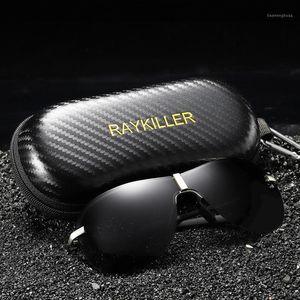 Lunettes de soleil polarisées surdimensionnées Pilote de Raykiller pour hommes Pêche Eyewear Lens miroir UV400 Conduite en plein air avec cas1
