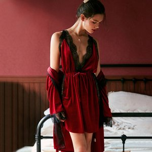 July's Song Fashion Women Winter Set Flowers Robe Gown Sets Herfst Sexy Edge Sling Female Nightwear Pyjamas Nightgown