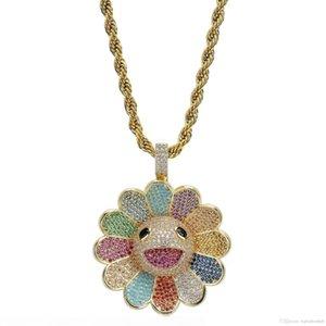 New Murakami Takashi sunflower Pendant Necklace Zircon Colorful flowers Rotatable hip hop pendants