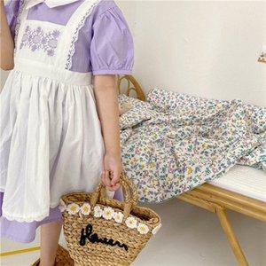 ZMHYAOKE Yaz 2020 Kız Sahte İki parçalı Kısa kollu Elbise Kız İşlemeli Yaka Elbise Şükran Çocuk Elbise Kız Dq84 için #