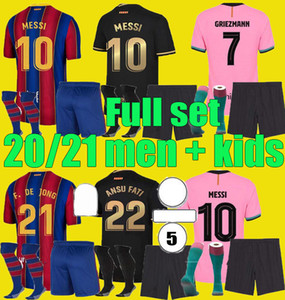 كرة القدم جيرسي 2020 2021 ansu fati camiseta de futbol ميسي 20 21 جريسمان سواريز f. دي جونغ مايلوتس كرة القدم قميص الرجال أطقم الاطفال