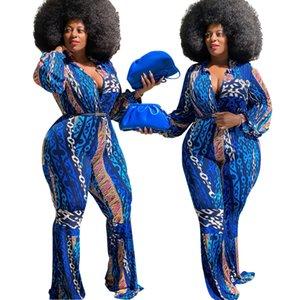 Blu stampa tute delle donne Plus Size Clubwear maniche lunghe profondo scollo a V Magro Flare inferiore partito pagliaccetti reale Immagine