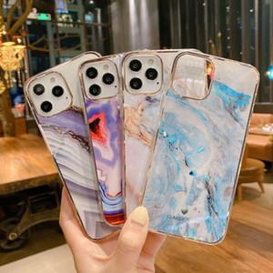 Galvanoplastia Mármol textura dura de plástico cajas del teléfono de iPhone 11 12 Mini Pro Max teléfono caso cubierta trasera ultra delgado