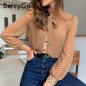 BerryGo Transparent sexy polka dot women blouse shirt Vintage tie-neck office wear spring blouse Chic long sleeve tops female 201028