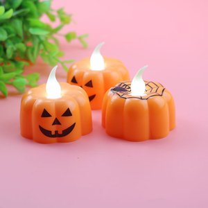 Pumpkin Candle Lights Halloween LED Tea Bulbs Windproof Bougie Lamp Party Decorations for Bar Table Decor