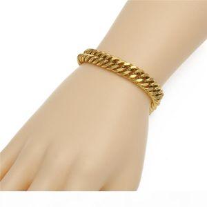Men Bracelets Gold Color 10mm Width Stainless Steel Bracelet & Bangle Vintage Rock Trendy Cool Wristband Hip Hop Jewelry