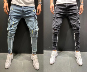 Patchwork Denim Jeans Men Pencil Pants Slim Fit Trend Skinny Ripped Jean Jogger Big Side Pocket Stripe Hip Hop Cargo Trousers