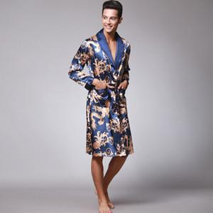 Çin Ejderha Cornes Pijama Erkekler Tam Çiçek Bornozlar Zarif Siyah Robe Pijama İpek Pijama Moda Ev Cornes Bornozlar