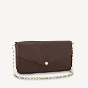 Ganze Sammlung von Frauen Umschlag Mutiple 3 in einer Kette Taschen Epi Wellen Leder eingeprägtes Leder glänzend Leder beschichtete Leinentaschen