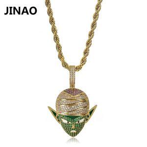 JINAO Hip Hop Jewelry Iced Out Catena anime Piccolo Pendente Collana Zircone cubica per regali di Natale J1218