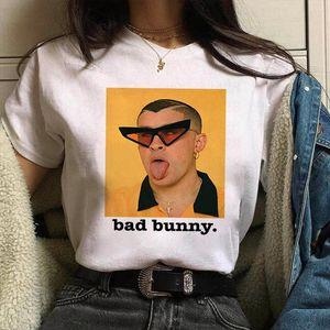 Fashion Cartoon Print Womens T shirt New Yo Perreo Sola Bad Bunny Maluma Rapper Harajuku Kawaii Street Clothes T shirt Tee Tops