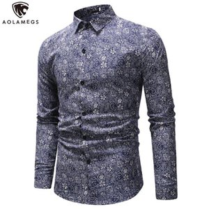 AolameGS Fashion Shirts Hombre Manga Larga Negocio Casual Forma Forma Camisas Floral Camisetas Hombre Dress Streetwear Button Tops Four Seasons