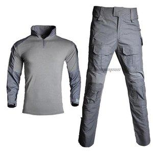 Ensembles de chasse à la formation d'uniformes Tagouillons tactiques à manches longues CS Vêtements Camo Camo Combat Chemise pantalon avec genoux