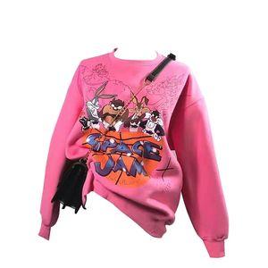 Hot New Casual Loose Vintage Letter Sweatshirt Female Korean Kawaii Women's Sweatshirts Japanese Clothing For Women