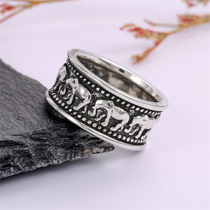 Elephant Ring Men Women Alloy Band Silver Plating Rings Circular Exquisite Propose Marriage Jewelry Fashion 2 2cs L2
