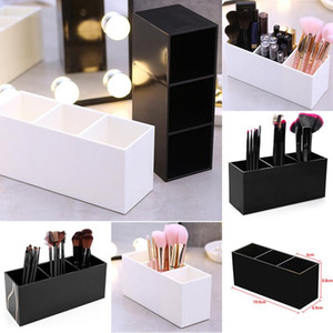3 решеток кисти для макияжа Косметических Организаторов Pen Контейнер для хранения Plastics Таблица Брови щеткодержатель Постоянного Storeage Box