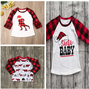 70-110cm Children Christmas Clothing Kids T-shirt Tops Baby Girls Plaid Long Sleeve T Shirt Xmas Red Grid Dinosaur Print Tshirt E102906