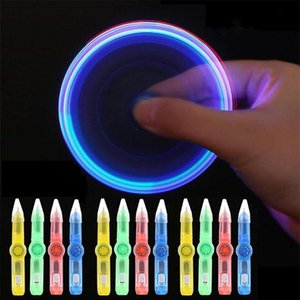 None LED Spinning Pen Ball Pen Fidget Spinner Hand Top Glow In Dark Light Stress Relief Toys Kids Toy Gift School Supplie