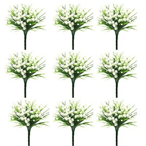10 Pieces of Simulation 7 Fork Water Grass Rose Small Lotus Plastic Plant Fake Flower Home Decoration