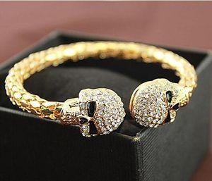 Fashion Skull Design Bracelet Female Rhinestone Alloy Gold silver Plated Charm Cuff Bracelets For W sqcuNI dh_seller2010