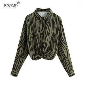 BBWM Donne 2020 Fashion Chic Knot Animal Stampa Croundped Bluses Vintage Manica Lunga Blog gettyimages.ae