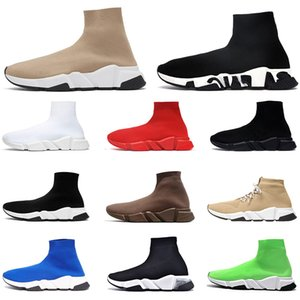 sock shoes designers Platform sneakers luxurys triple black white beige graffiti clear sole lace up boot mens womens casual shoes size 36-45