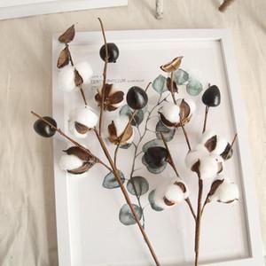 4 Pcs 5 Heads Natural Dry Cotton Artificial Plant Flower Home Decor Dried Cotton Stems Long Branch Wedding Party Decor