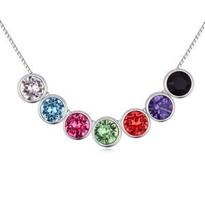 DIY Şık Hediye Verme Kadınlar Düğün Haftalık Takı için Gümüş Renk Zincir itibaren 7 Renk Boncuk kolye kolye Kristaller
