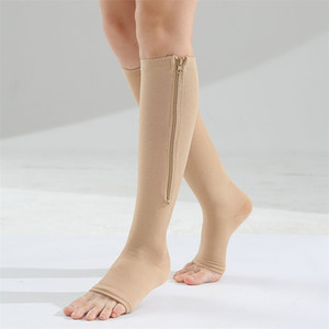 Aberto do dedo do pé cilindro Meias elásticas moldando meias apertadas zipper perna fina compressão meia quente homem mulheres 7 5fm o2