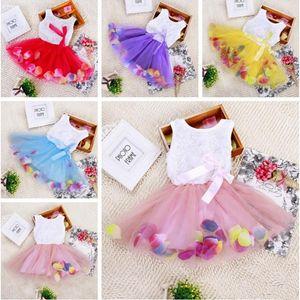 Ropa de los bebés vestido de princesa vestidos de las niñas de la flor 3D se levantó el vestido del bebé del tutú de la flor con pétalos de colores vestido de encaje falda de la burbuja YHM104-1
