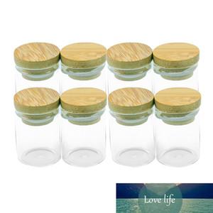 30x40mm 15мл Мини стеклянная бутылка с Bamboo Seal Защитное стекло баночки конфеты Saffron еды порошок песка баночки из бамбука Cap Бутылки