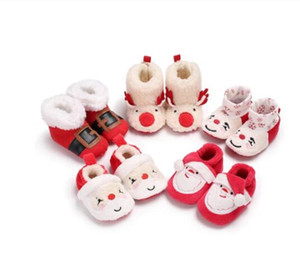 2020 New Christmas Baby Shoes Baby Boys Girls Winter Warm Santa Claus First Walkers Cute Xmas Baby Boots