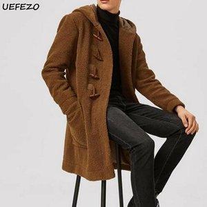 CYCINCOS Мужчины Твердые флис куртка Мужчины Parka Осень Зима Длинная ветровка куртка теплая с капюшоном двойной флис пальто с Horn Button